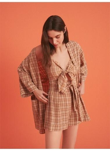 Nocturne Düşük Omuz Ekose Kimono Renkli